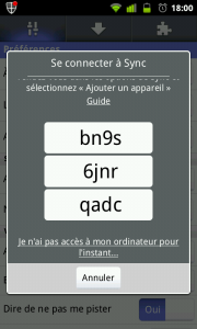 Connexion Firefox Mobile Sync