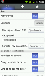 Firefox Mobile Sync Activé