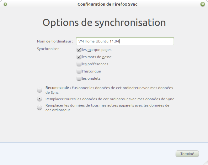 Options de configuration Sync