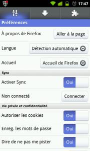 Paramètres Firefox Mobile