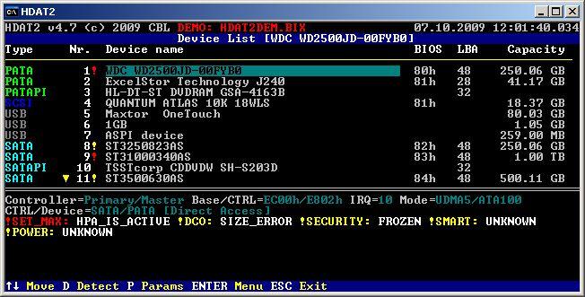Indentifier le disque HPA-isé